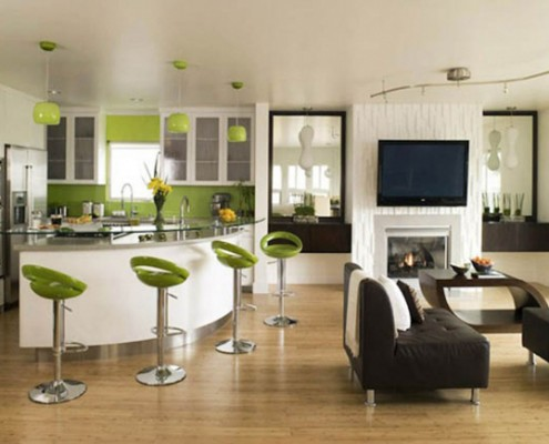 Wonderful-Open-Floor-Contemporary-Apartment-Decorating-Ideas-with-Black-Sofa-a-Modern-Table-and-Green-Chair-Classic-using-Glass-Tbale-also-Ceramic-Floors-Brown-Colored-Design-