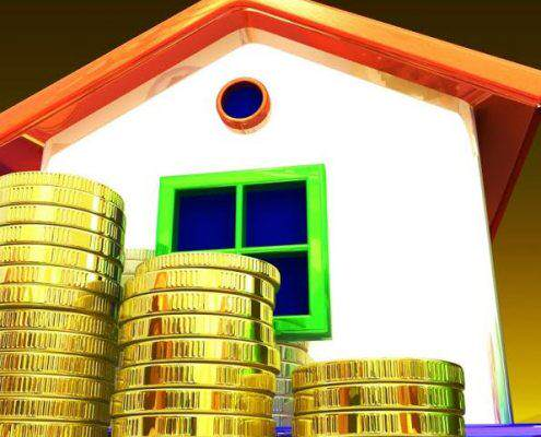 Coins Around House Shows Home Savings Or Construction Business