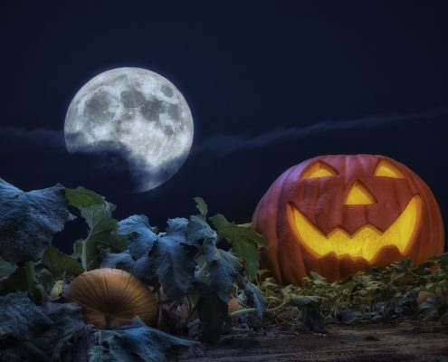 A large smiling glowing Jack O' Lantern sitting in a pumpkin patch field at night with full moon rising above the clouds in the background