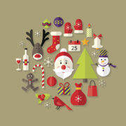 Vector illustration of Christmas Flat Icons Set with Santa Claus